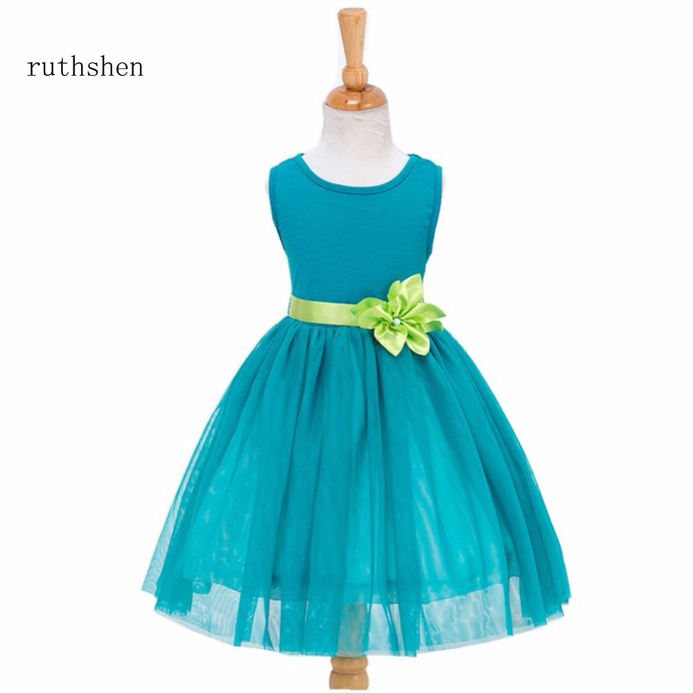ruthshen In Stock 2018 Princess Baby   Flower     Girls     Dresses   For Weddings With   Flowers   Sash Kids Teal Length Ball Gowns