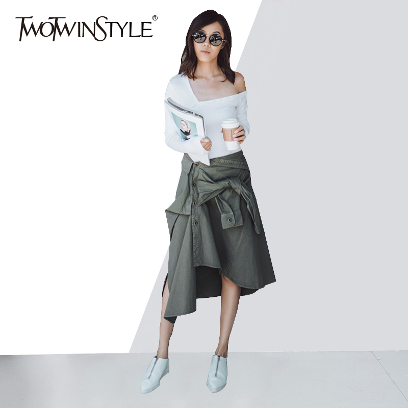 TWOTWINSTYLE Women's Skirt Suit Off Shoulder Slim T Shirt With Lace Up Asymmetrical Skirts Large Size Spring Sexy Casual Clothes