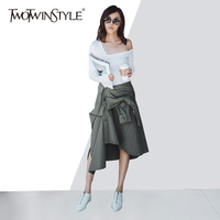 TWOTWINSTYLE Women S Skirt Suit Off Shoulder Slim T Shirt With Lace Up Asymmetrical Skirts Large