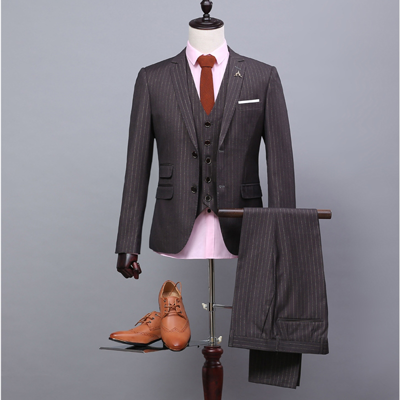 NA33 Wholesale Men Suit Mens Complete Designer Tuxedo Custom Make (jacket+pant+tie+waistcoat) Brown With White Stripe Suits
