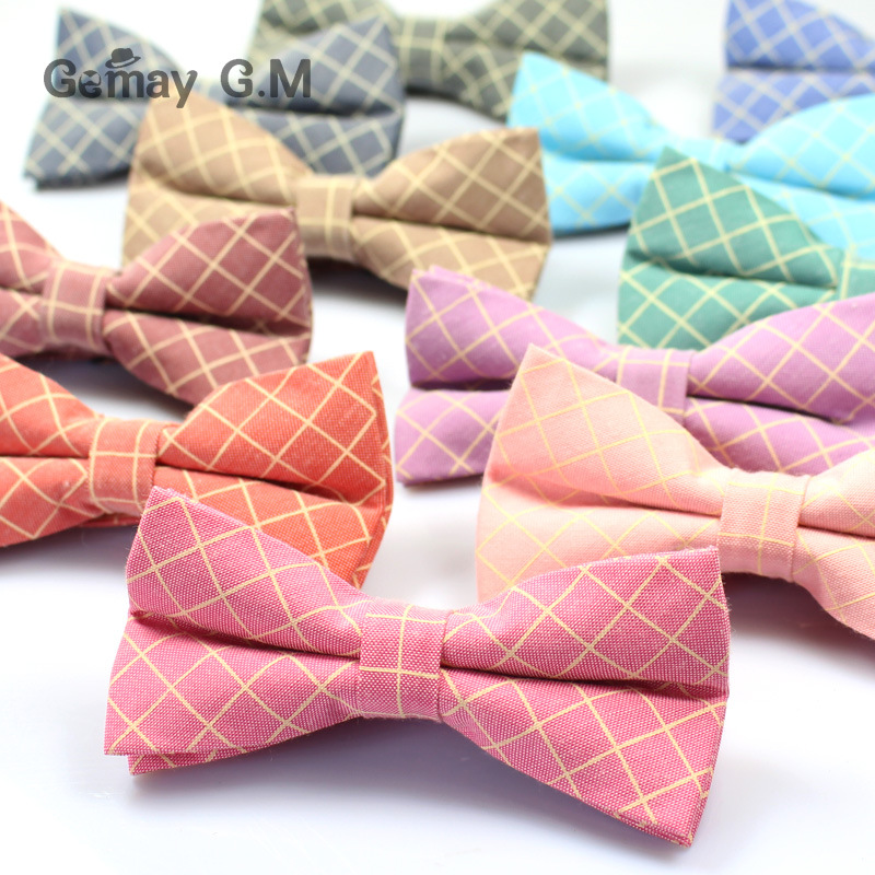 Mens Bowtie Fashion Casual Cotton Plaid Bow Tie Accessories England Style Neck Tie For Wedding Skinny Gravatas Suit Cravat