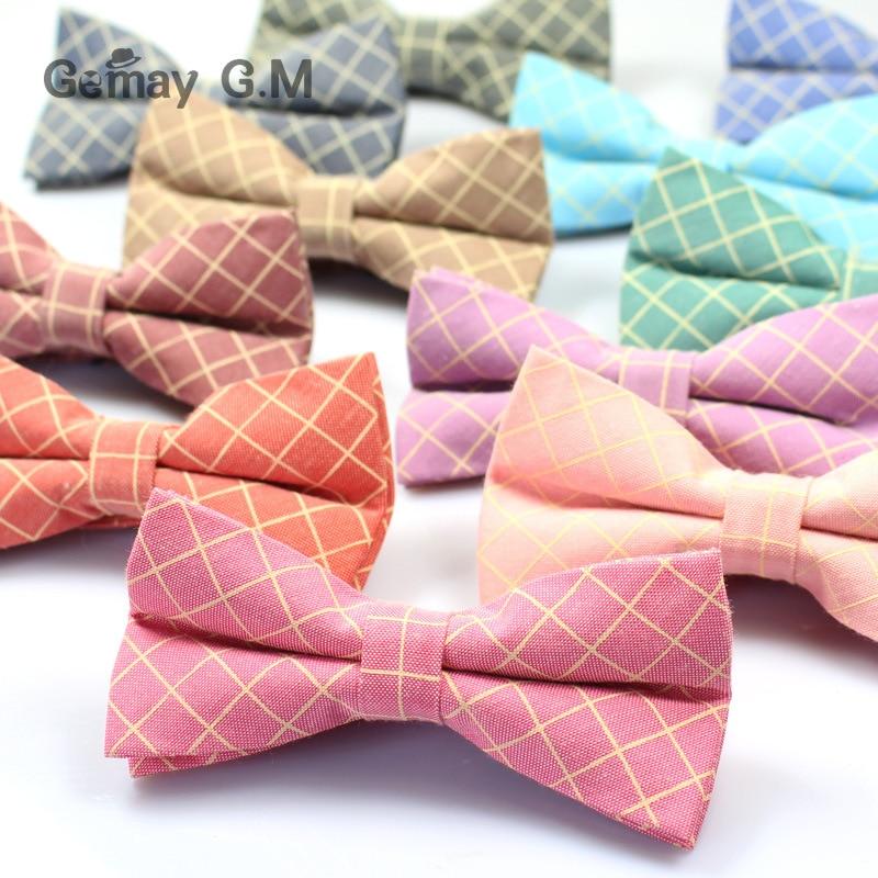 Mens Bowtie Fashion Casual Cotton Plaid Bow Tie Accessories England Style Neck Tie For Wedding Skinny Gravatas Suit Cravat