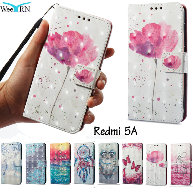 WeeYRN Painting Flowers Flip Leather <font><b>Case</b></font> for Xiaomi Redmi 5A Stand Wallet Cover Xiaomi Redmi 5A <font><b>Card</b></font> <font><b>Holder</b></font> <font><b>Phone</b></font> <font><b>Cases</b></font>