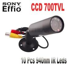 1/3″ Sony Effio-e 700TVL CCD Mini Bullet Outdoor Invisible 10pcs IR 940NM 0 lux Night Vision CCTV Camera IR Night Vision CAMERA