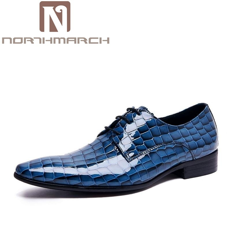 NORTHMARCH Men Leather Shoes Breathable Lace-Up Flats Patent Leather Male Dress Shoes Blue Oxfords Shoes Zapatos De Boda Hombre fashion party wedding shoes patent leather business oxfords men dress shoes lace up formal flats shoes career flat zapatos male