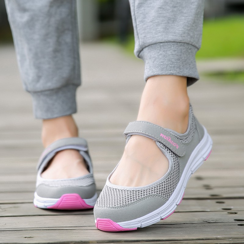 2018 Women Shoes Mary Jane Shoes Air Mesh Summer Flats Shoes Women Sneakers Rubber Outsoles Walking Shoes Plus Size 35-42(China)