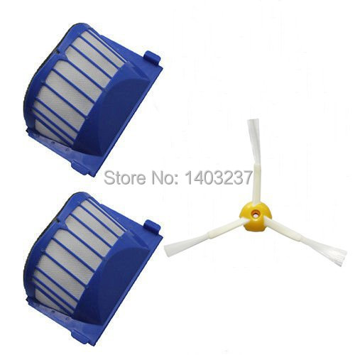 2 x Aero Vac Filter 1 x Side Brush 3-Armed for iRobot Roomba 500 600 Series 536 550 551 552 564 620 630 650 660 Vacuum Cleaner aero vac filter bristle brush flexible beater brush 3 armed side brush tool for irobot roomba 600 series 620 630 650 660
