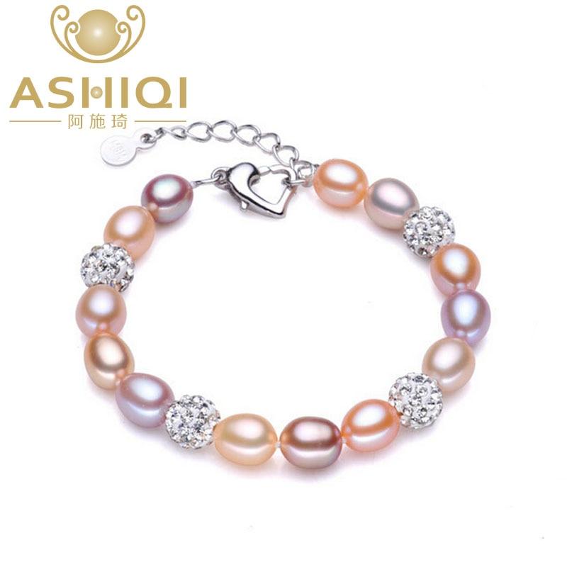 ASHIQI Real Natural Pearl ձեռնաշղթա կանանց համար քաղցրահամ ջրերի մարգարիտ Զարդեր ձեռքի պատրաստված բյուրեղյա գնդակի ապարանջաներ նվեր