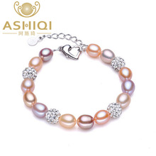 ASHIQI Real Natural Pearl Bracelet for Women Freshwater Pearls Jewelry handmade crystal ball bracelets gift