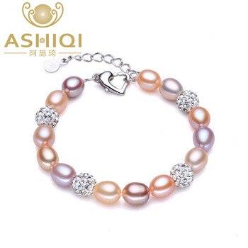 26c805fc0ffe ASHIQI pulsera de perlas naturales reales para mujeres perlas de agua dulce  joyería hecha a mano bola de cristal pulseras regalo