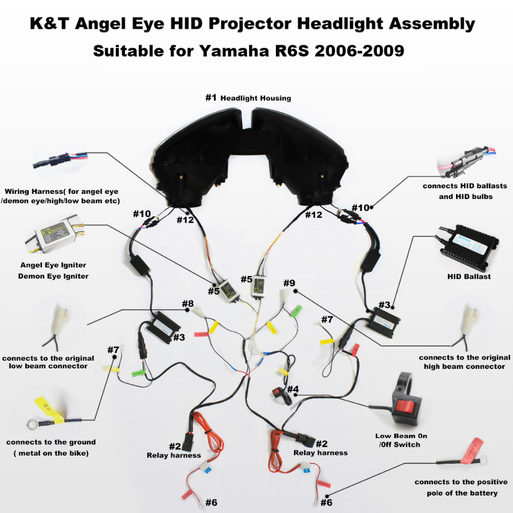 Kt Headlight For Yamaha Yzf R6s 2006 07 08 2009 Led Angel Eye Red Honda R6  Motorcycle 06 R6 Wiring Harness