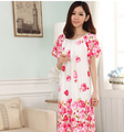 Positioning Flower Printed Modal Maternity Dress Loose Plus Size XL Pregnant Clothes for Pregnancy Women 2016 New Summer Pajamas