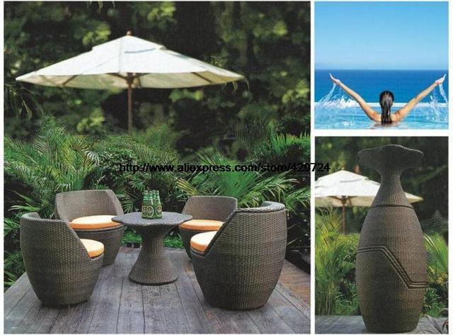 Creative Rattan Furniture Set Vase Combination Outdoor Sofa Garden Sofa  Chair Table Patio Wicker Furniture Combination