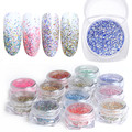 Symphony Glitter Dust Chrome Pigment Holographic Powder DIY Kit Multi-color 12 Bottles Nail Art Decorations Sequin Set