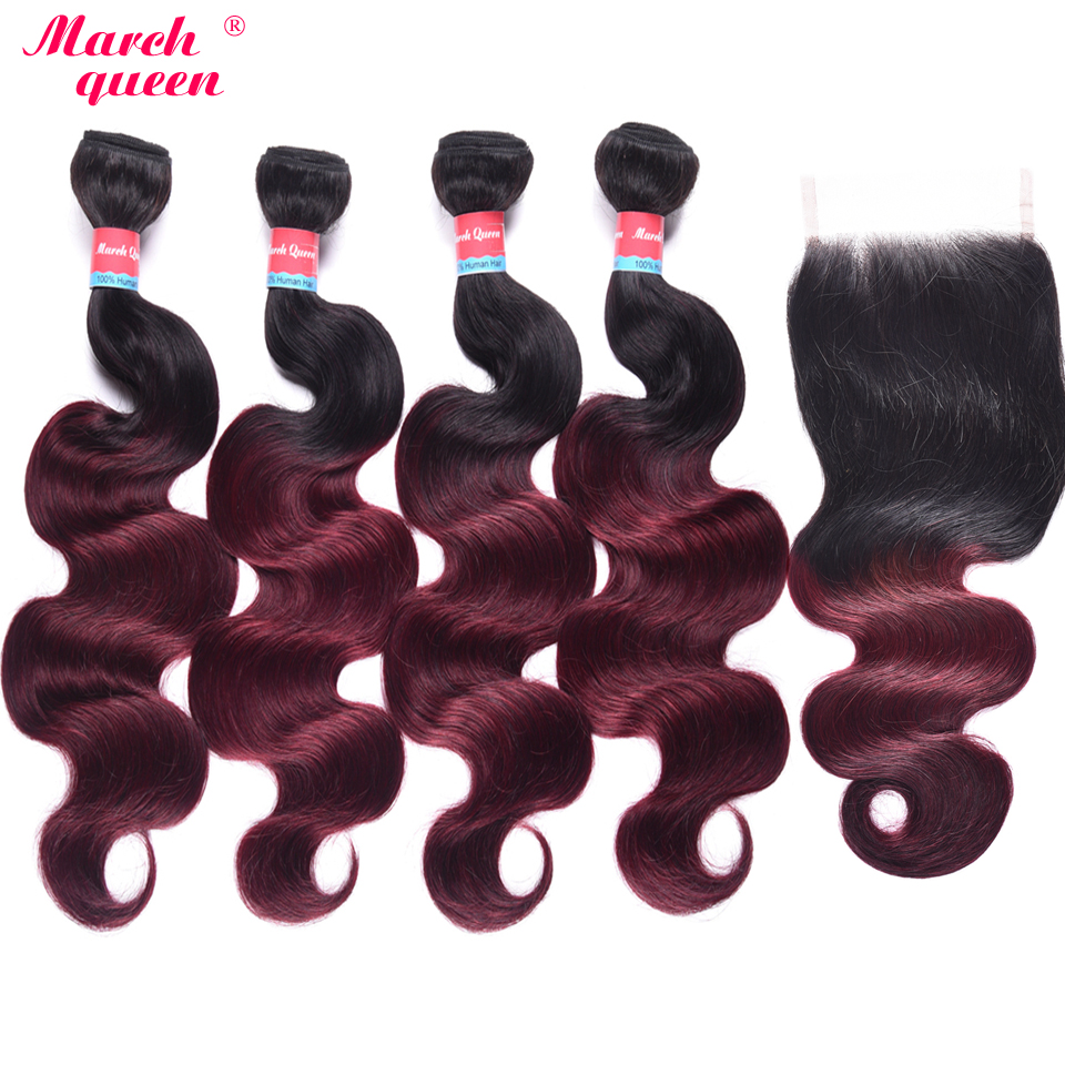 March Queen 4 Bundles With Closure Ombre T1B/99J Brazilian Body Wave With Closure Black To Red Wine 100% Human Hair Weave