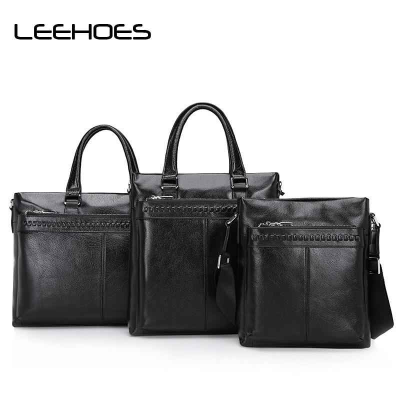 Brand Men Briefcase Bags Large Middle Small Business Bags High Quality Leather Man Shoulder Crossbody Bag Black Male Bag Hobosc цена