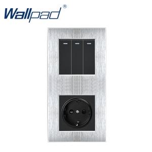 Image 4 - 3 Gang 2 yollu ab soket Wallpad lüks saten Metal Panel basma düğmesi Rocker duvar ışık anahtarı + ab soket 110V 250V