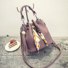 купить Fashion Women PU Leather Bucket Bag Shell Handbag Tassel Drawstring Shoulder Bag Messenger Crossbody Bags Purses дешево