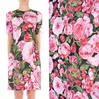 50cmx145cm Piece Fashion Printing Red Roses Chiffon Fabric Imitation Silk Print Fabric Polyester Cheap Fabric Free