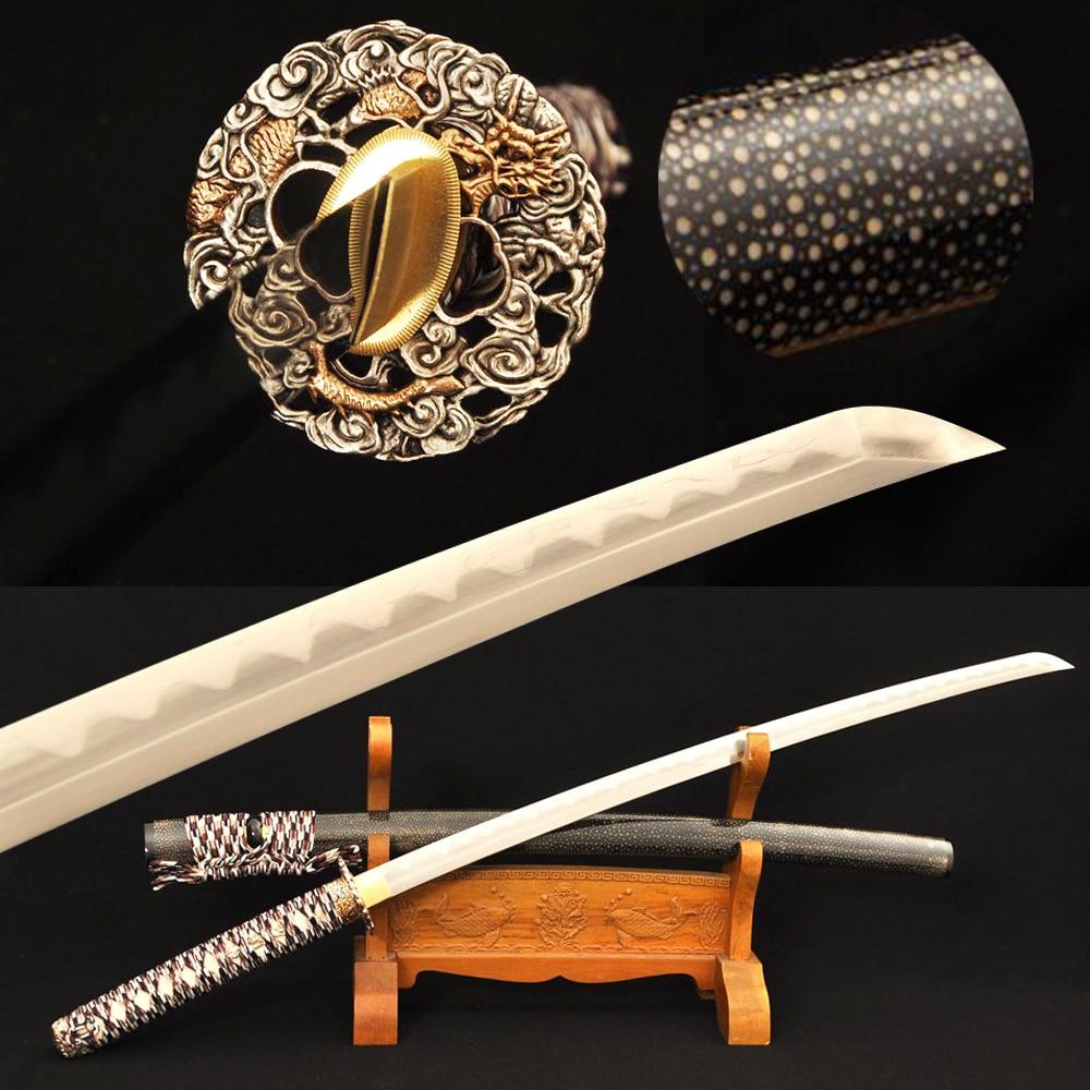Japanese Samurai Sword Wakizashi Damascus Folded Steel+ T10 steel + Clay tempered Kobuse Blade Full Rayskin Wrapped Saya Custom