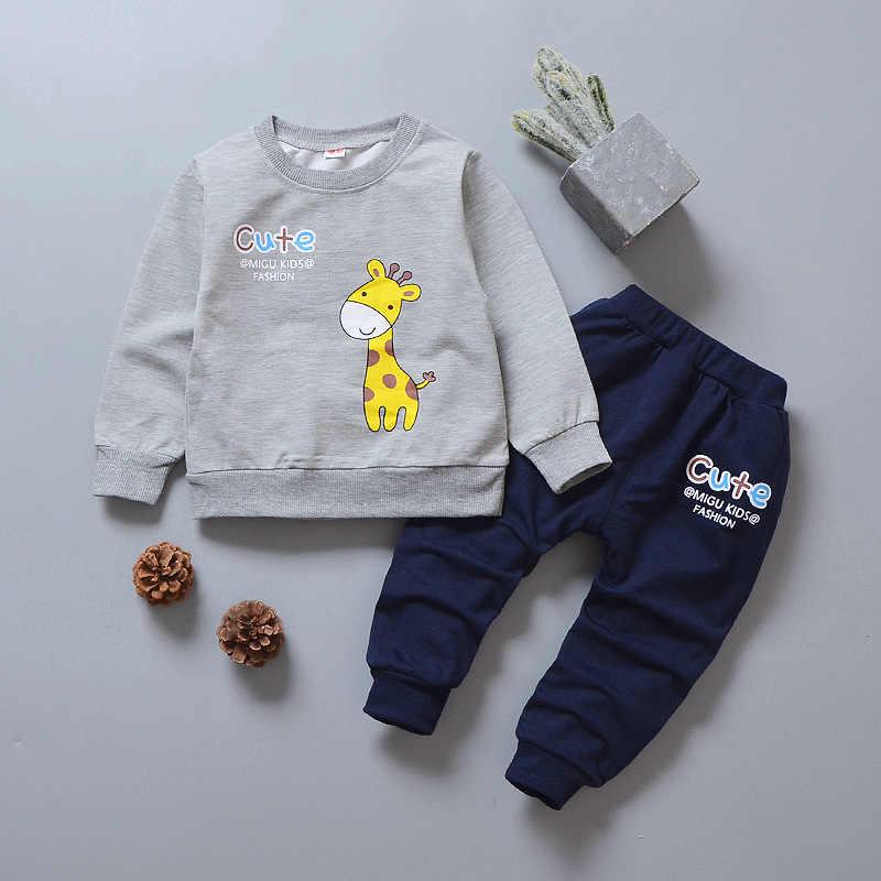Ropa de bebé niño 2018 dibujos animados ciervos camisetas de manga larga Tops + Pantalones 2 piezas ropa infantil niños Bebes Jogging trajes