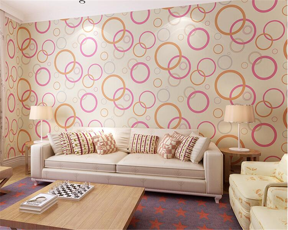 beibehang Can be scrubbing simple wallpaper nonwovens living room fashion personality circle papel de parede 3d wallpaper tapety beibehang can be scrubbing simple