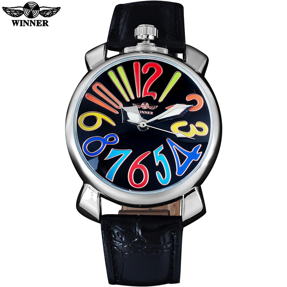 WINNER fashion casual men mechanical watches leather strap luxury brand men's silver wristwatches hot male clock reloj hombre winner fashion men mechanical watches leather strap silver case new casual brand analog automatic wristwatches relogio masculino