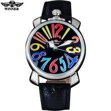 ПОБЕДИТЕЛЬ мода повседневная мужчины механические часы кожаный ремешок luxury brand мужская серебряный наручные часы горячая мужской часы reloj hombre