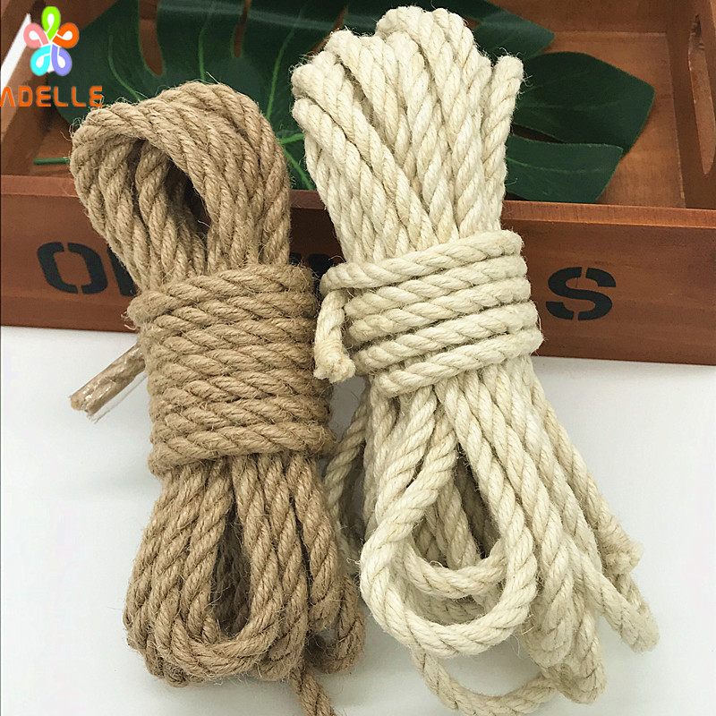 US $7 99 |4/5/6/10mm Twisted Shibari Bondage Jute twine Rope Natural/White  color Adult sex toys strong DIY Gardening free shipping 10yard-in Cords