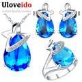 Silver Jewelry Sets Rhinestone Water Drop Blue Red Purple Necklace Earrings Ring Gifts Wedding Jewelry Set Cubic Zirconia T262