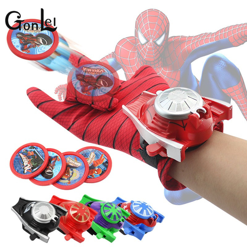 GonLeI Spiderman Superhero Glove Laucher Props Captain America Hulk Ironman Avengers Boys Kids Party Cosplay Glove Prop Toy Gift 6pcs set activities ratchet gears wrench set open end wrenches repair tools to bike torque wrench combination spanner allen keys