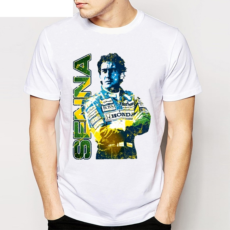 new-retro-unique-design-men's-t-shirt-car-fans-tops-cool-tees-my-favorite-driver-ayrton-font-b-senna-b-font