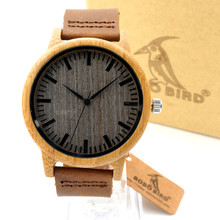 BOBO BIRD A18 High Quality Handmade Bamboo Wood Watches With Real Leather Band in Gift Box Mens Watches