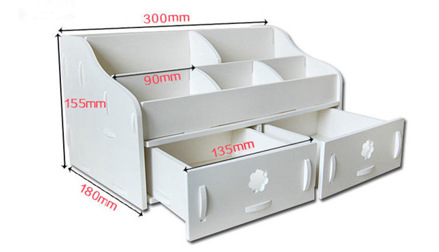 White Waterproof Makeup Storage Box Wood Plastic Plate Cosmetic Box Jewelry  Box Bathroom Storage Box 7