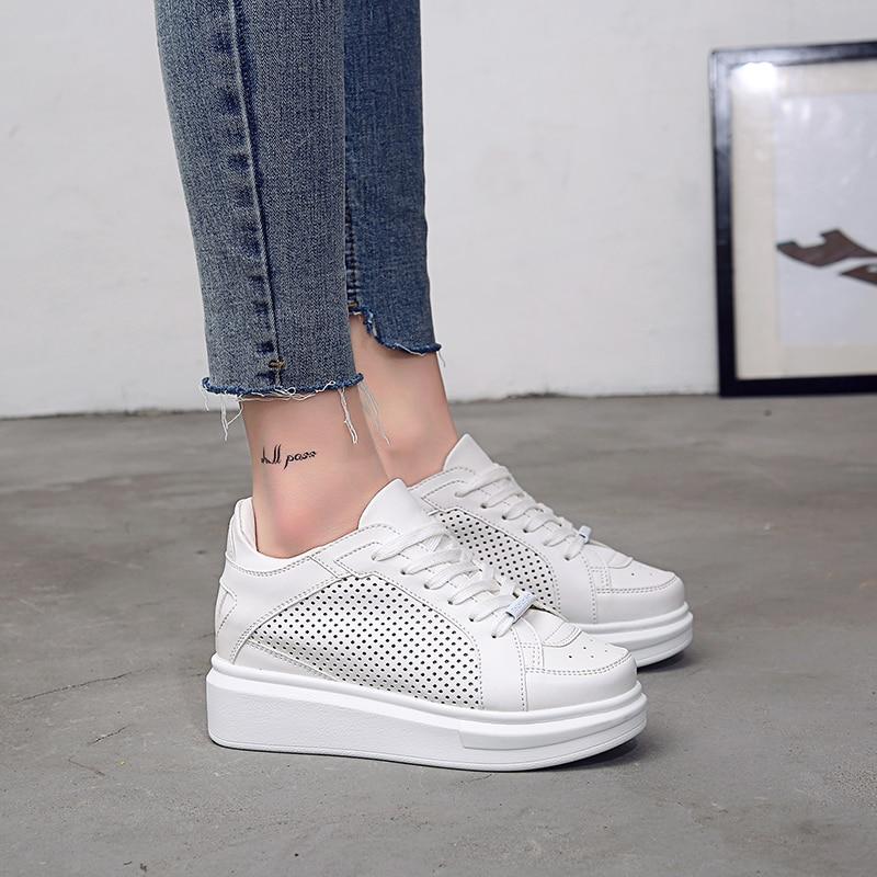 JOKIHA chaussures d'été femmes en cuir véritable creux respirant blanc plate-forme chaussures pour femmes hauteur augmentant dames chaussures