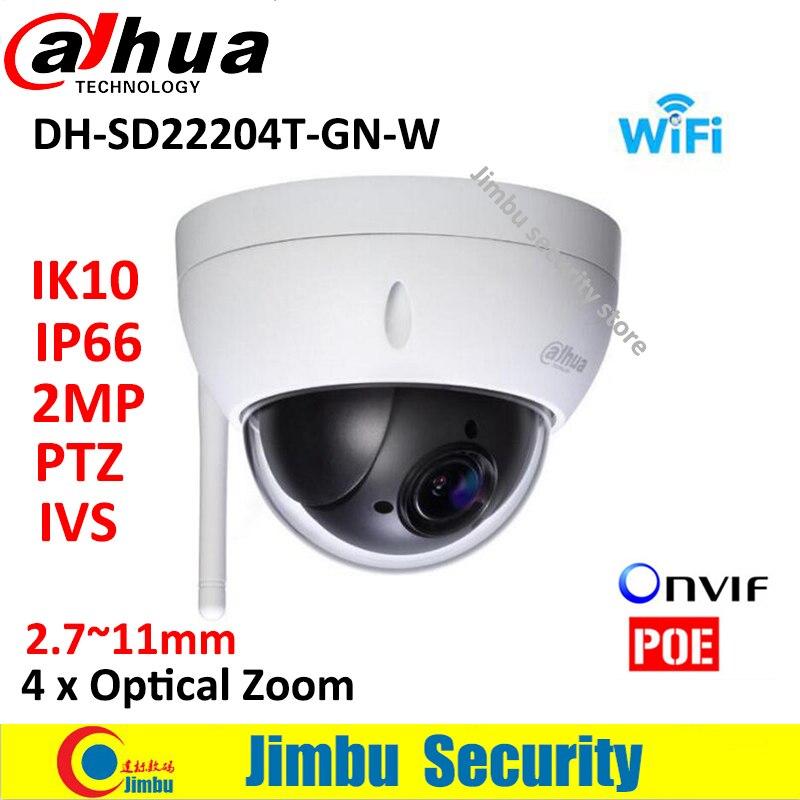 Dahua 2MP wifi Network Mini PTZ camera DH-SD22204T-GN-W Speed Dome 4x optical zoom Outdoor Camera Auto IRIS English Firmware dc v100 15mp cmos digital camera w 5x optical zoom 4x digital zoom sd slot pink 2 7 tft