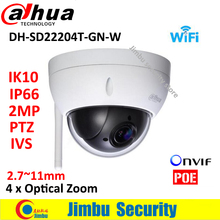 Dahua 2MP wifi Network Mini PTZ camera DH-SD22204T-GN-W Speed Dome 4x optical zoom Outdoor Camera Auto IRIS English Firmware