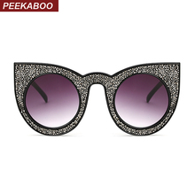 Peekaboo black diamond sunglasses women cat eye vintage high quality luxury brand designer sun glasses gradient uv400 2017