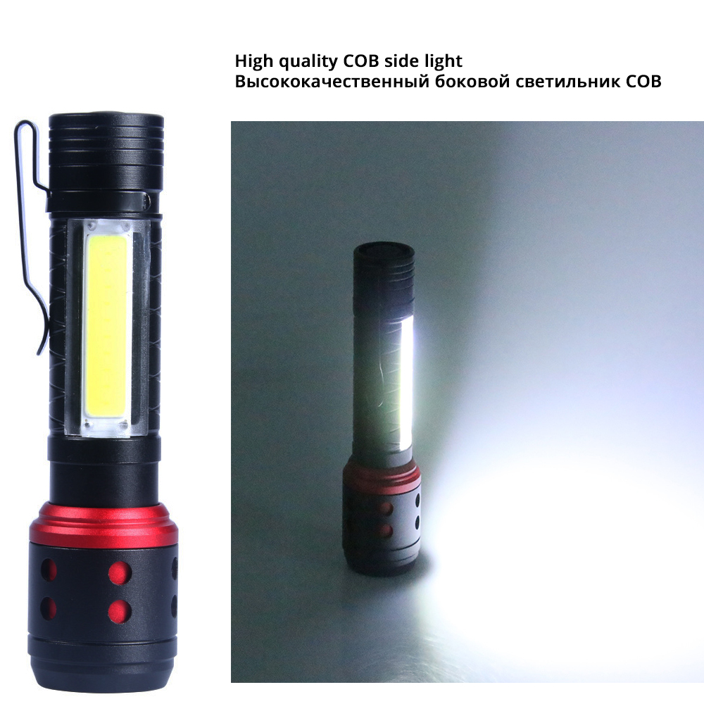 Image 5 - Portable MINI LED Flashlight With COB Side light 4 lighting modes XPE lamp beads Lighting 150 meters Powered by AA batteries-in LED Flashlights from Lights & Lighting