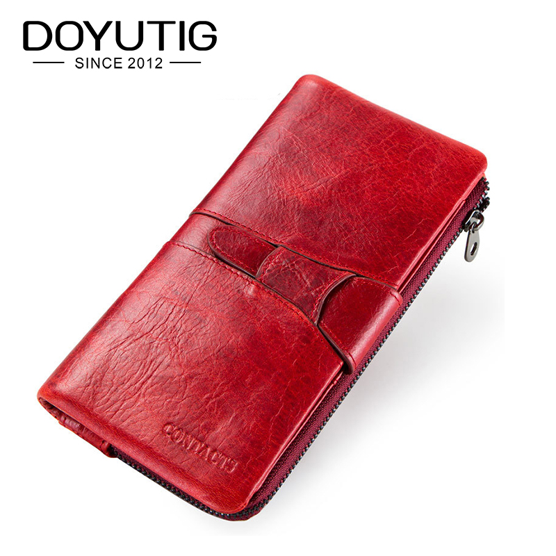 DOYUTIG Classical Ladies Genuine Leather Long Wallets Red /Grey / Green Color Fashion Real Leather Women Cluthes Money Bag A206