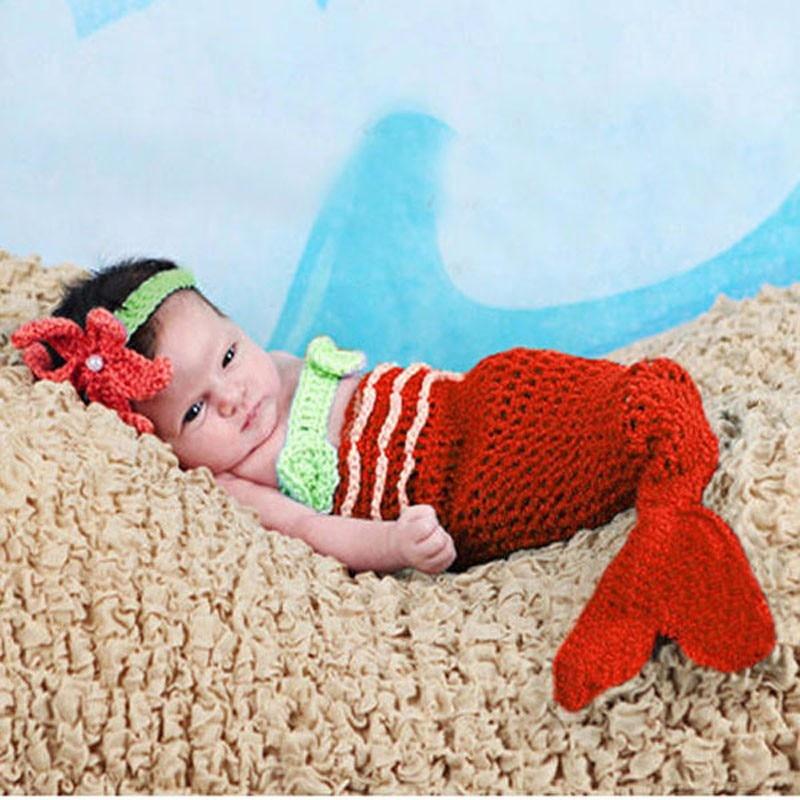 Детские младенческие одеяло «хвост русалки» ракушками вязаные крючком Костюм Русалки комплект Подставки для фотографий ручной работы животных Стиль SG026
