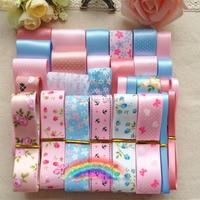 29 YDS High Quality Fresh Blue Pink Ribbons DIY hairpin bowknot hair accessory material grosgrain / satin printed ribbon set