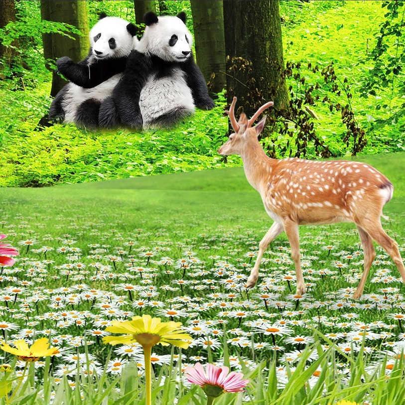 De papel pintado con foto 3D verde bosque animales de dibujos animados de 3D habitación telón de fondo como de TV Mural Panda ciervo flor Natural paisaje