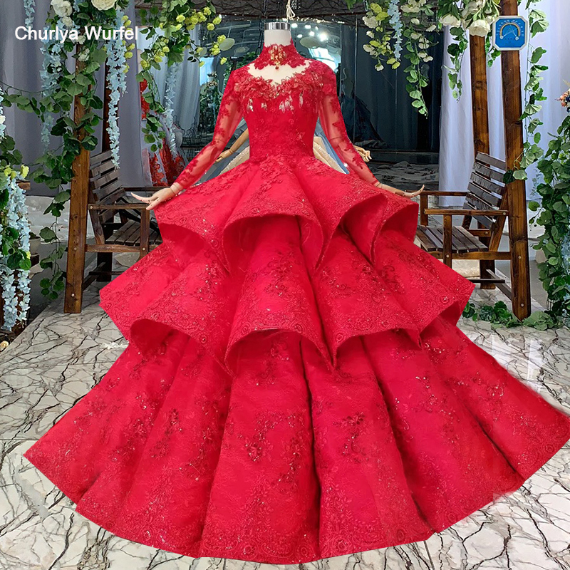 LS11290 ball gown evening dresses high neck long sleeves lace up back rose wedding party dresses pleat multi-layer vestido longo