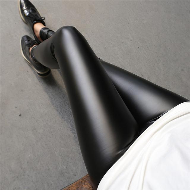 2017 mujeres Atractivas de la Manera Girls Fina Delgada Lápiz Pantalones Ajustados Pantalones de Cuero pantalones De Cuero de LA PU de piel de Cordero