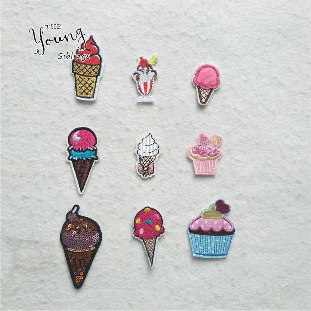 Hot sale Cartoon Patches Embroidered Iron On  Food ice cream Stickers Jeans Clothes Sew Badge DIY Clothing Appliques Accessories