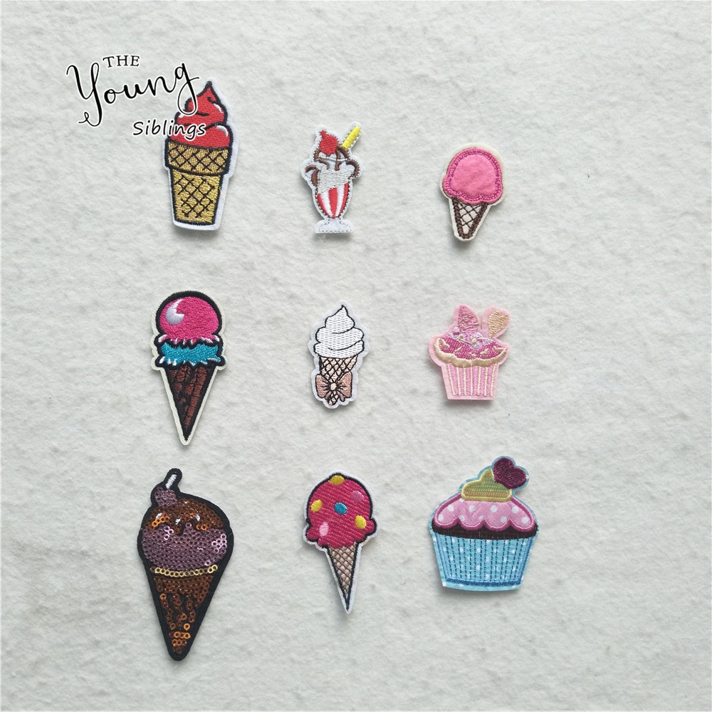Double Dip Ice Cream Cone Embroidered Iron On Patch