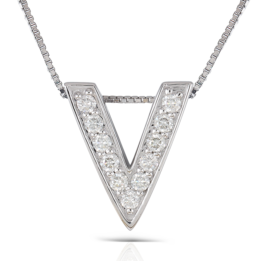 Transgems Platinum Plated Silver 0.385CTW Round Brilliant Moissanite V Shaped Pendant Necklace for Women graceful rhinestoned three layered v shaped necklace for women