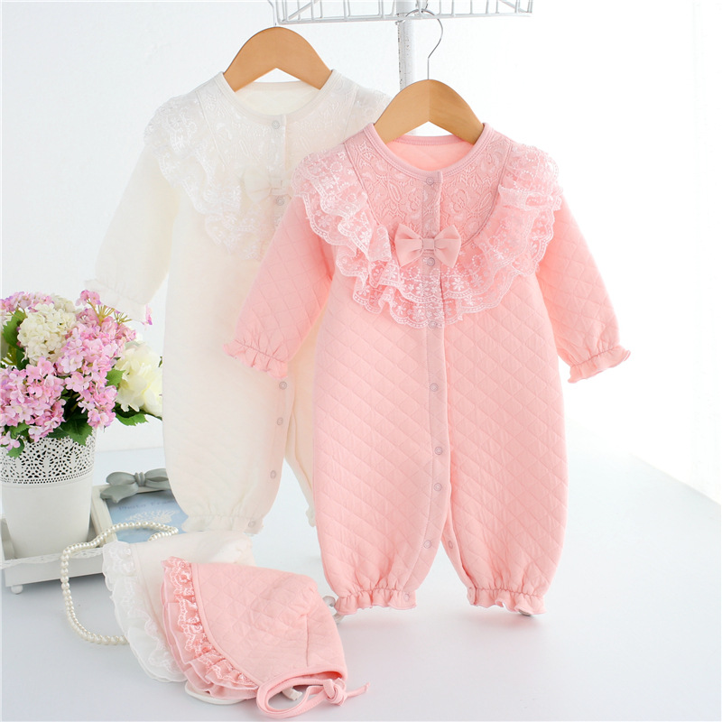 Thicken Autumn Winter Baby Girl Rompers Lace Long Sleeves Coveralls Infant Jumpsuit Baby Clothing Princess Ropa + Baby Hats autumn winter baby girl rompers striped cute infant jumpsuit ropa long sleeve thicken cotton girl romper hat toddler clothes