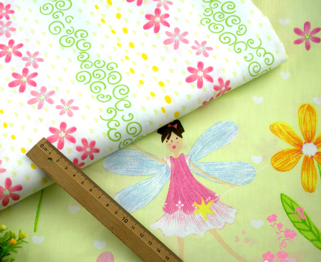 New So Pretty Angel Girl & Colorful Flower Printed Cotton Fabric 100% Cotton Fabric 50x160cm